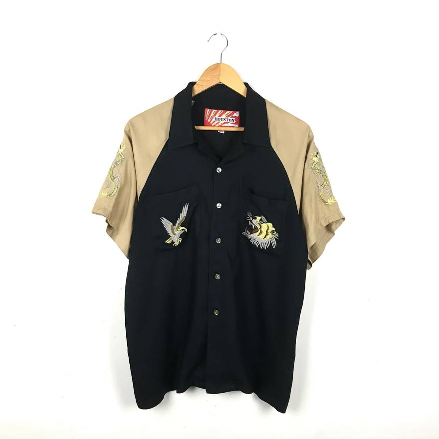 Sukajan T Shirts Houston Vintage Sukajan Rayon Shirt Thick