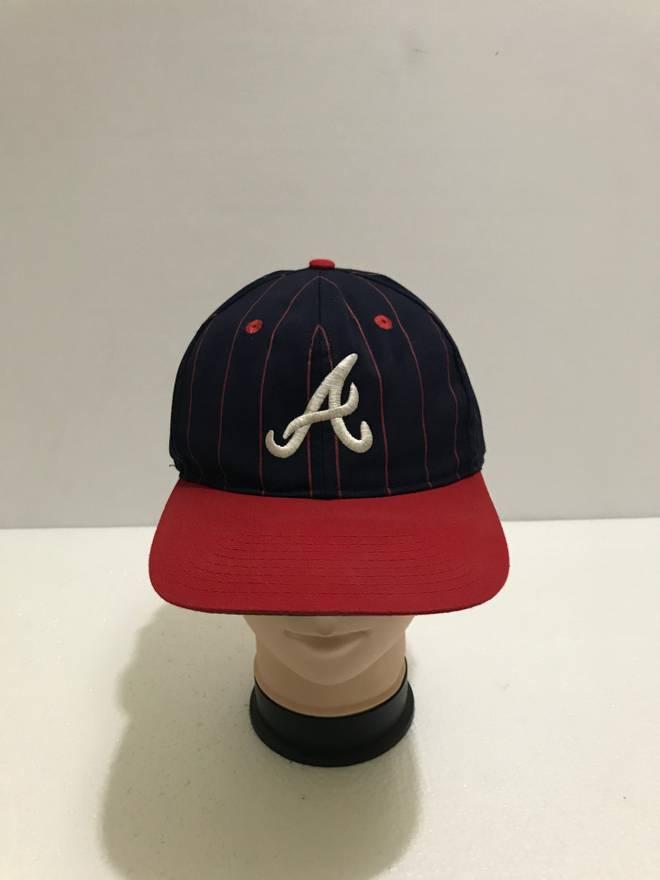 fec91ad58d269 ... snapback hat 28f0c 5573c  best price sportswear vintage 90s atlanta  braves big logo embroidered baseball cap stripes two tone official