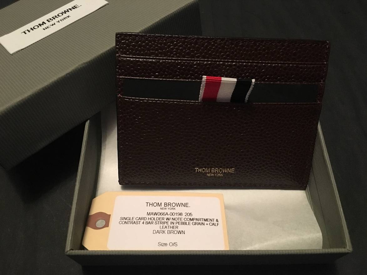 thom browne card holder wnote compartment in dark brown pebble leather size one size - Thom Browne Card Holder
