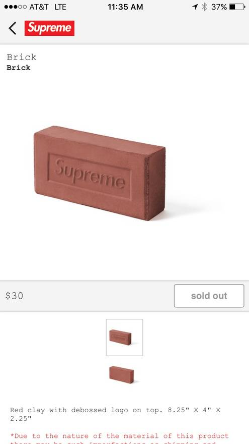 Supreme Brick Size ONE SIZE