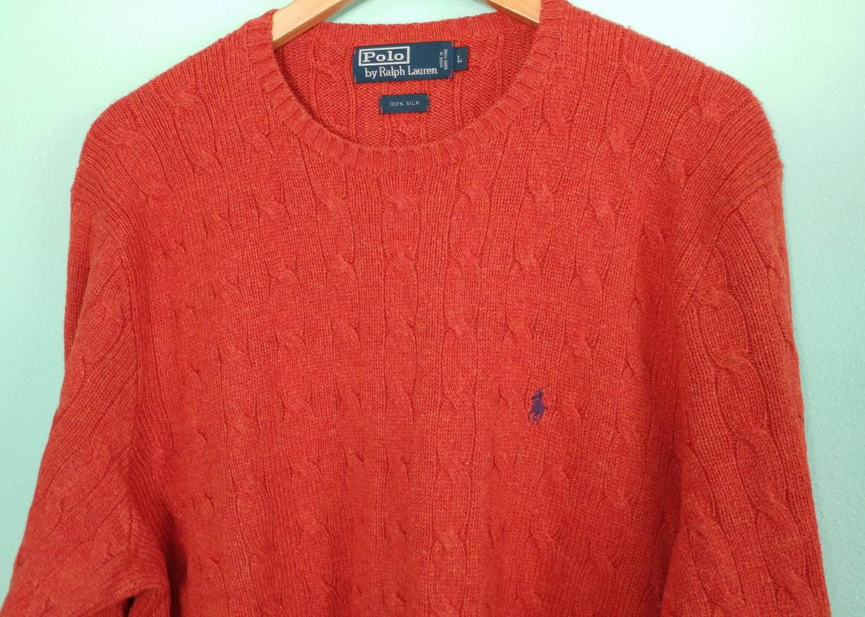 Polo Ralph Lauren Pure Silk Cable Knit Sweater Size L Sweaters
