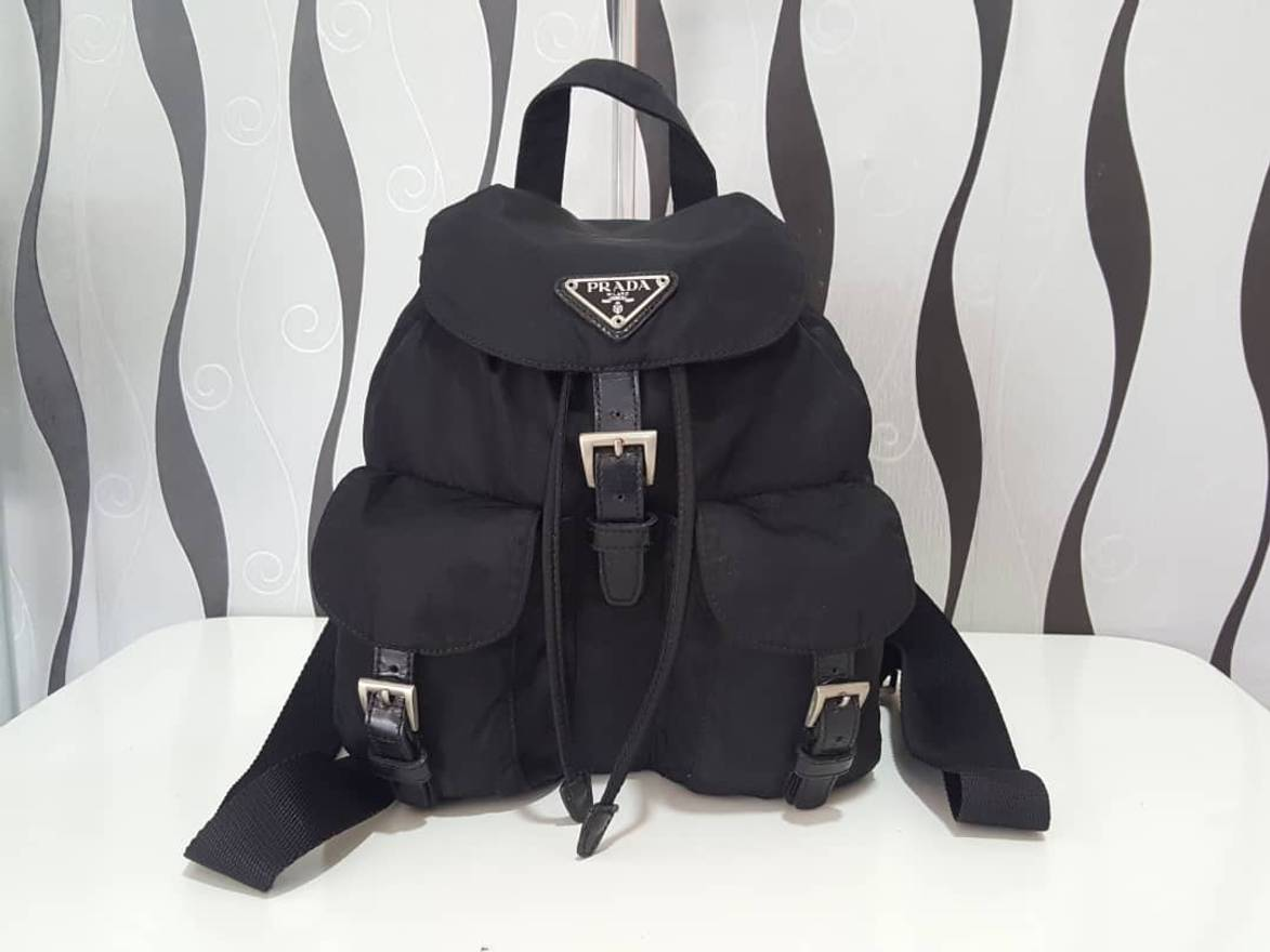 5109ea59d274 ... aliexpress prada rare collection authentic prada vela nylon black  backpack bag prada bag vintage 1cd1b 1c571
