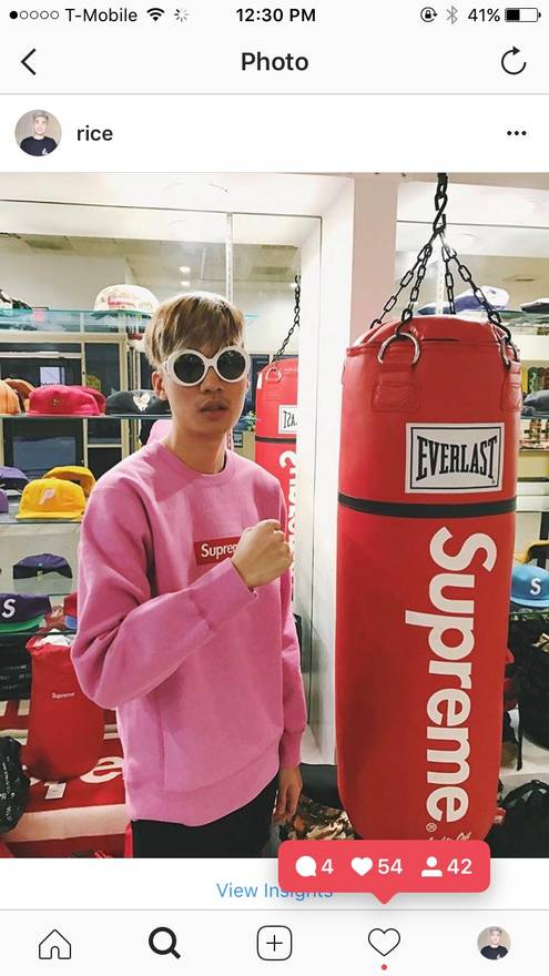 supreme pink box logo ricegum size l sweatshirts hoodies for