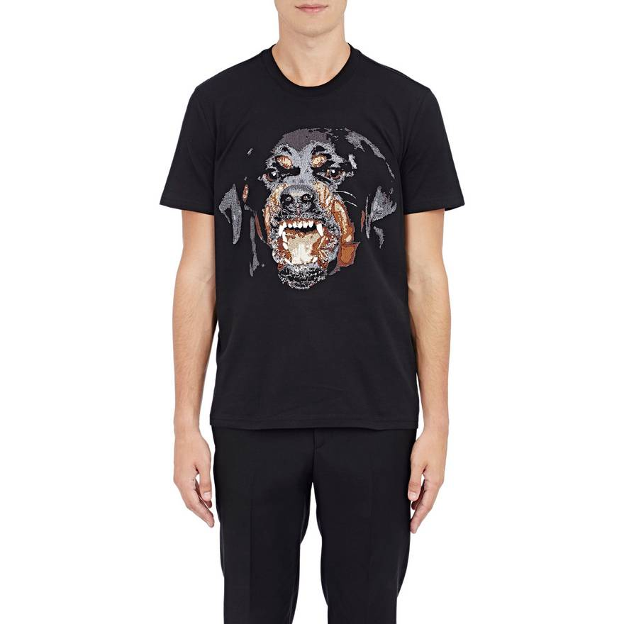 Best Givenchy Black Rottweiler Embroidery T-Shirt Size l - Short Sleeve  UZ54