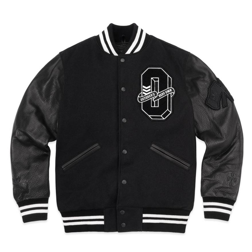 octobers very own ovo x roots varsity jacket xl size xl leather