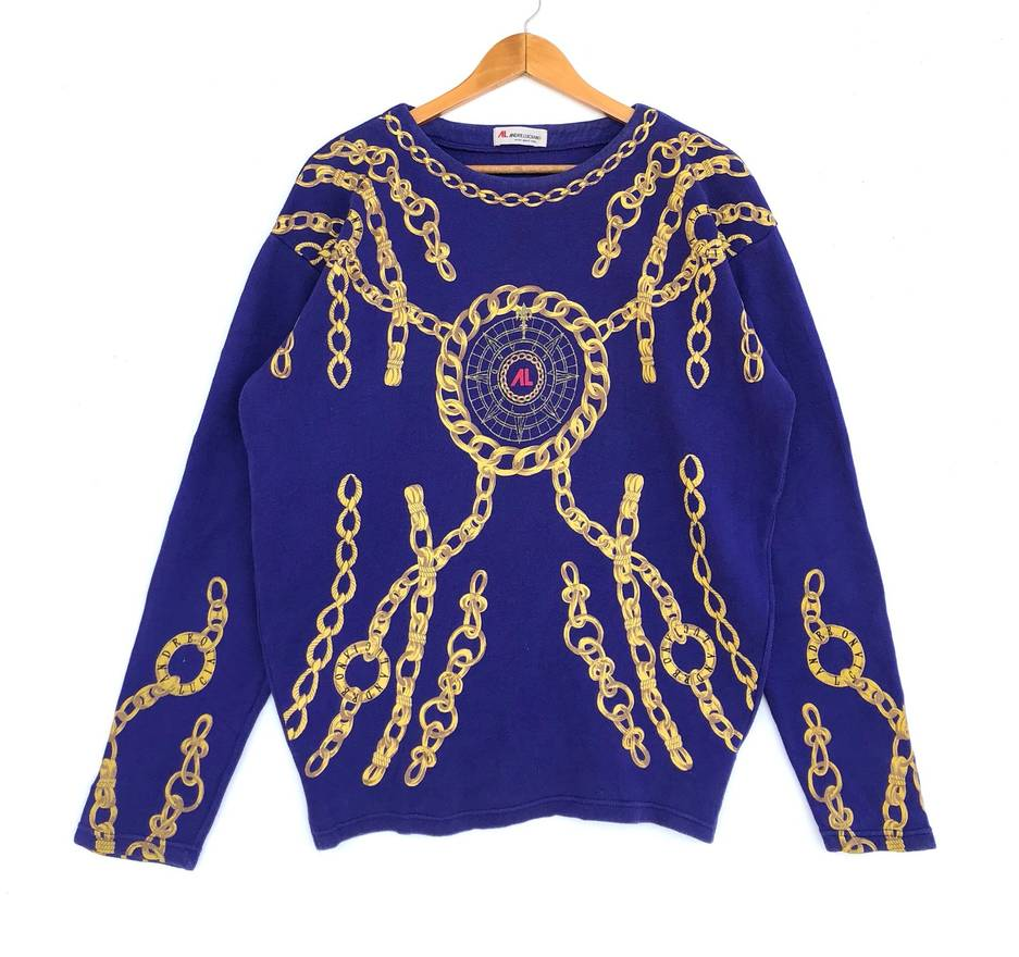 Andreluciano Andre Luciano Sweatshirt Gold Chain Full Print All Over Logo Medium Size Jumper Sweater