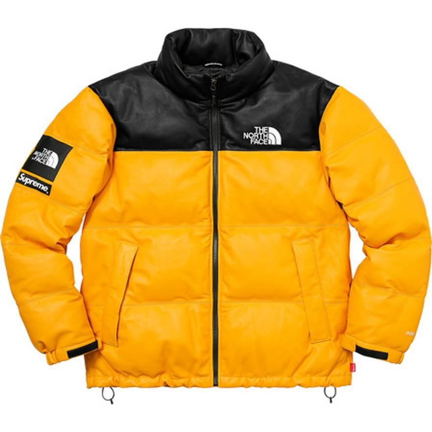 ... sale supreme supreme the north face leather nuptse jacket yellow size  us m eu 48 de3f7 c50c4ed30