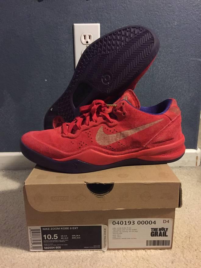 7258e521e77a ... 582554-600 Size Nike Kobe VIII 8 EXT Year Of The Snake Red Suede Size  US 10.5 EU .
