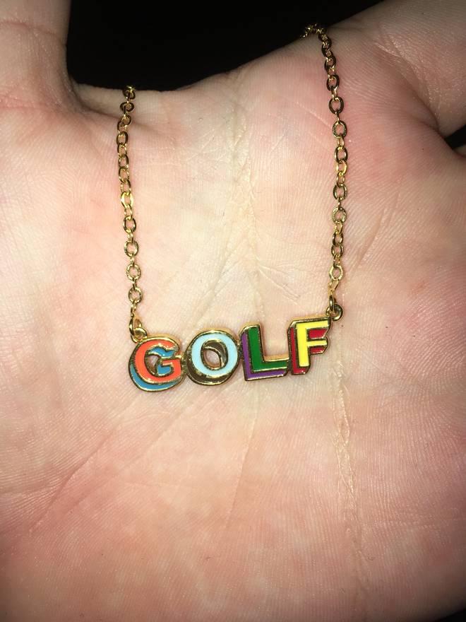 Golf wang golf wang 3d logo gold necklace size one size jewelry golf wang golf wang 3d logo gold necklace size one size aloadofball Images