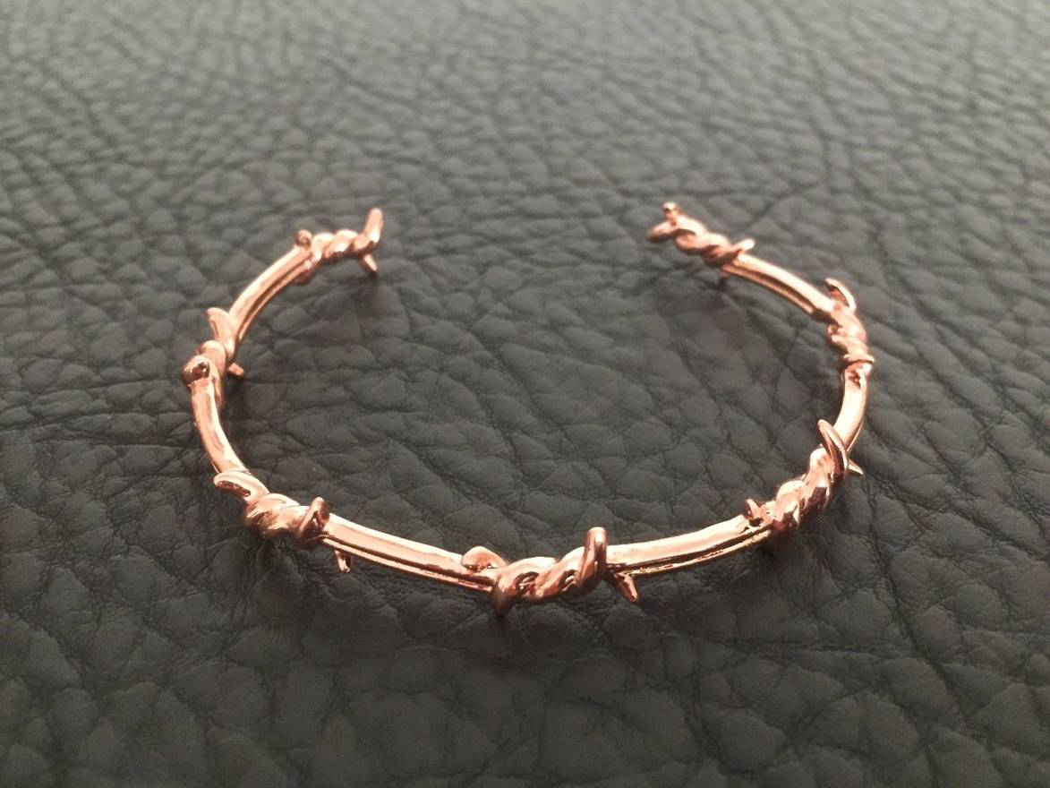 Ron Herman STAINLESS STEEL ROSE GOLD PLATED BARBED WIRE PUNK ROCK ...