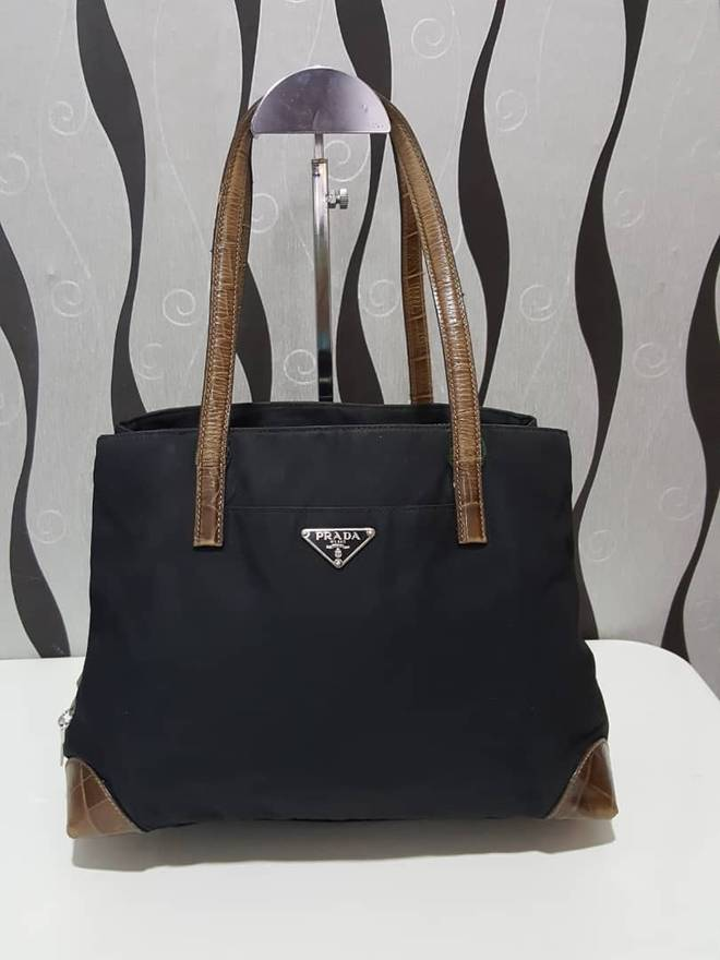 444bd680b200 discount prada authentic prada nylon black tote bag prada tote bag vintage prada  bag size bdf51