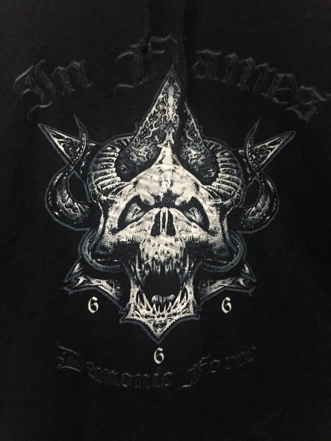 Band Tees Black Hoodie Band In Flames Satan 666 Demonic Force Size