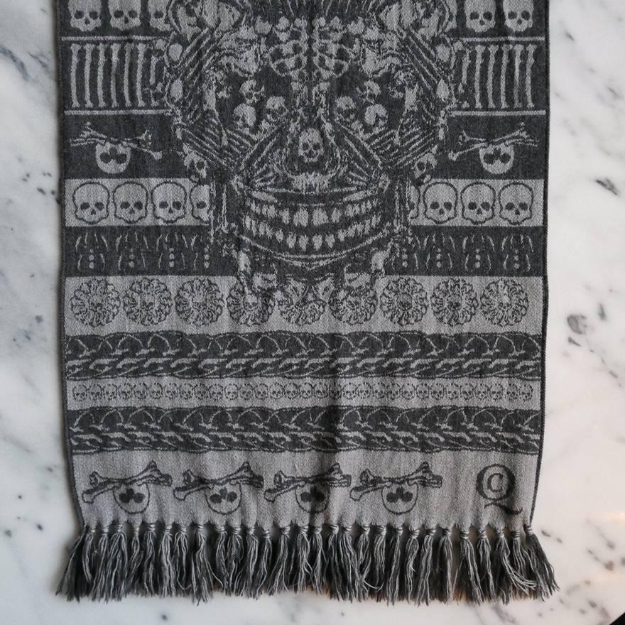 Alexander Mcqueen Fair Isle Intarsia Knit Skull Scarf Size One