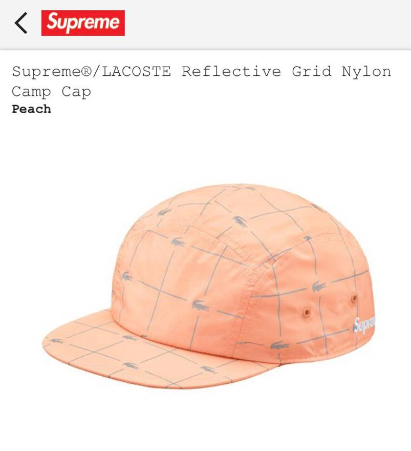 bca64f1a ... inexpensive supreme supreme x lacoste peach reflective grid nylon camp  cap size one size 44a4a 8b91a