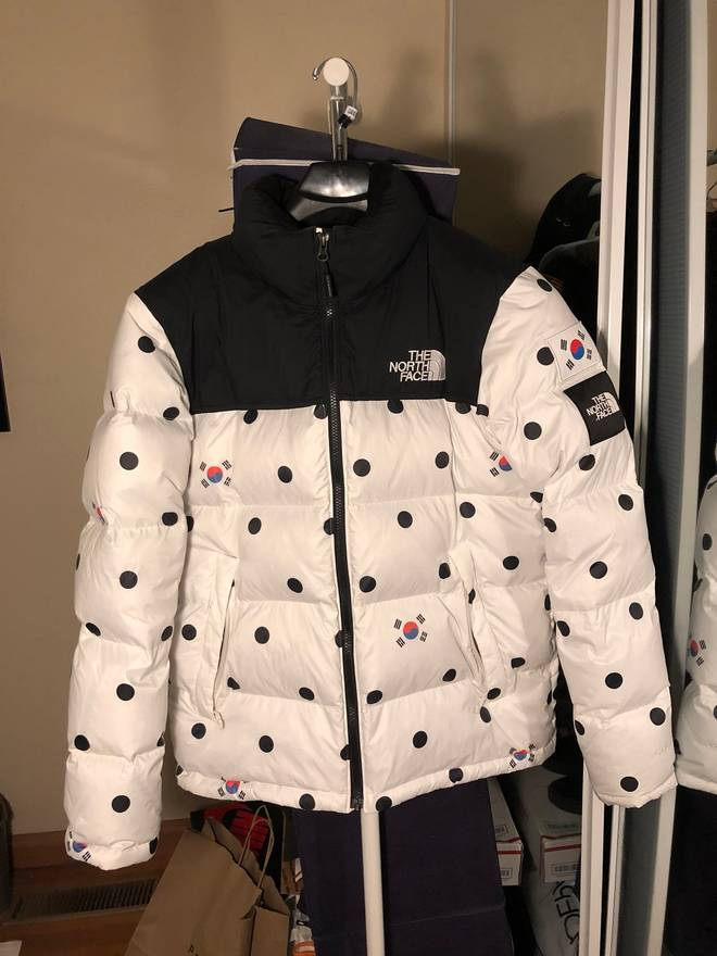 31fdaf7d8a ... depop a394c cde39 canada the north face the north face ic international  korea polka dot nuptse jacket size us ...