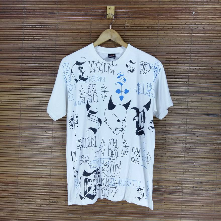 Vintage STUSSY Allover Print White Tshirt Crewneck Size Medium Made In Mexico US M