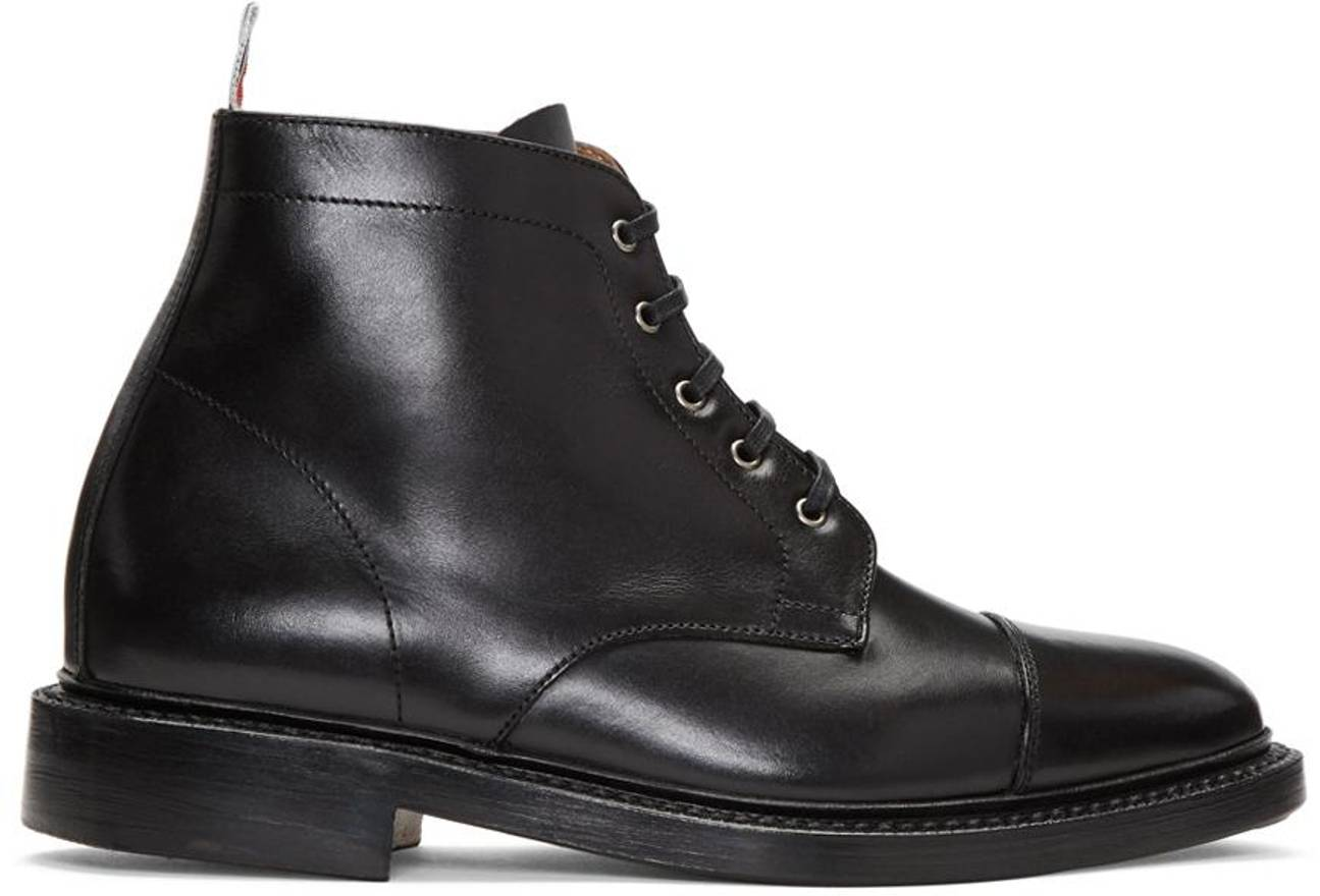 Black Cropped Derby Boots Thom Browne