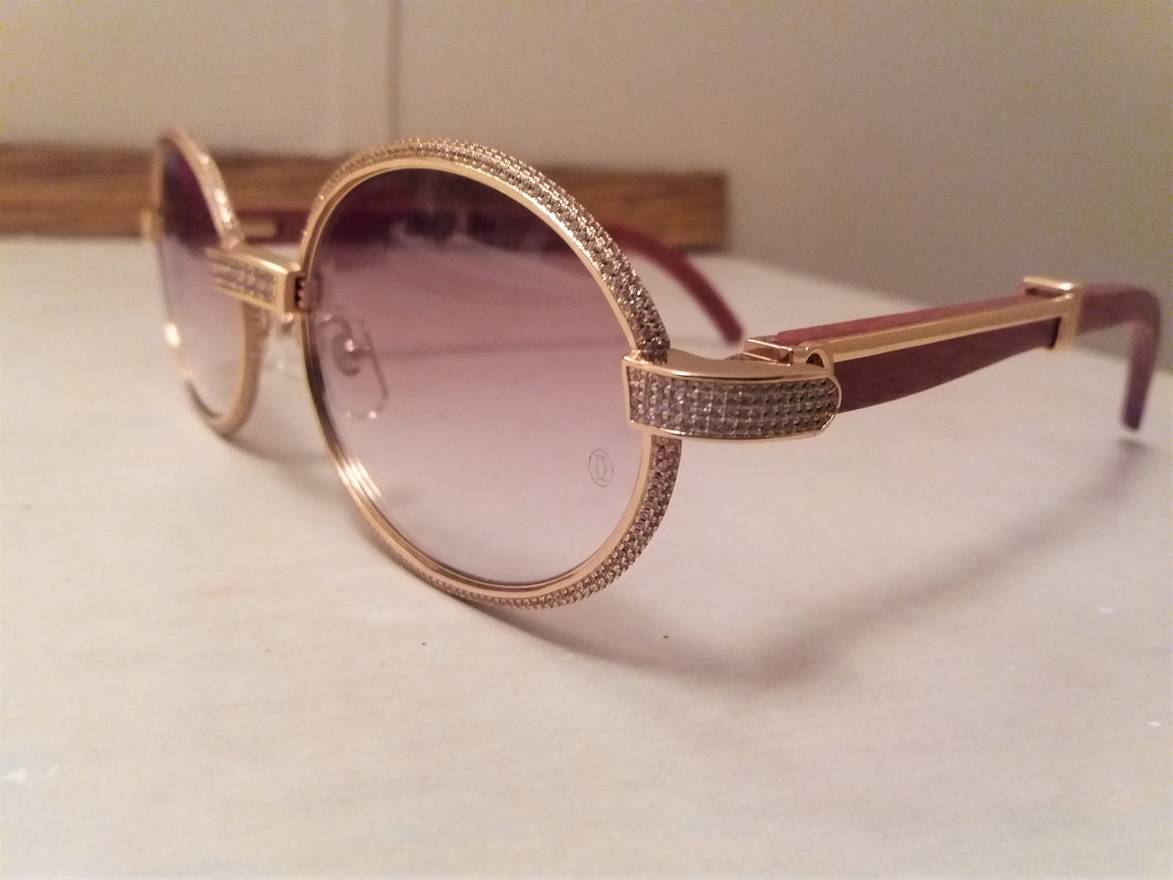 Cartier Custom Iced Out Vintage Diamond Cartier Sunglasses Size one ...