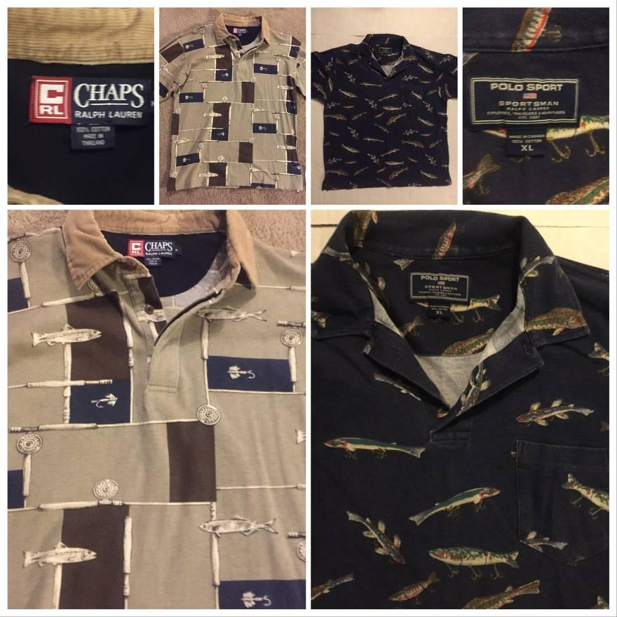 Ralph Lauren Vtg Fishing Polo Bundle Medium Long Sleeve Chaps
