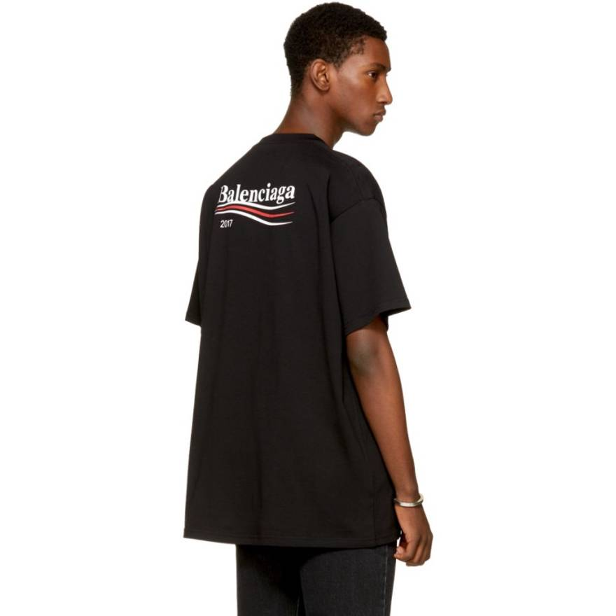 Navy Campaign Logo T-Shirt Balenciaga