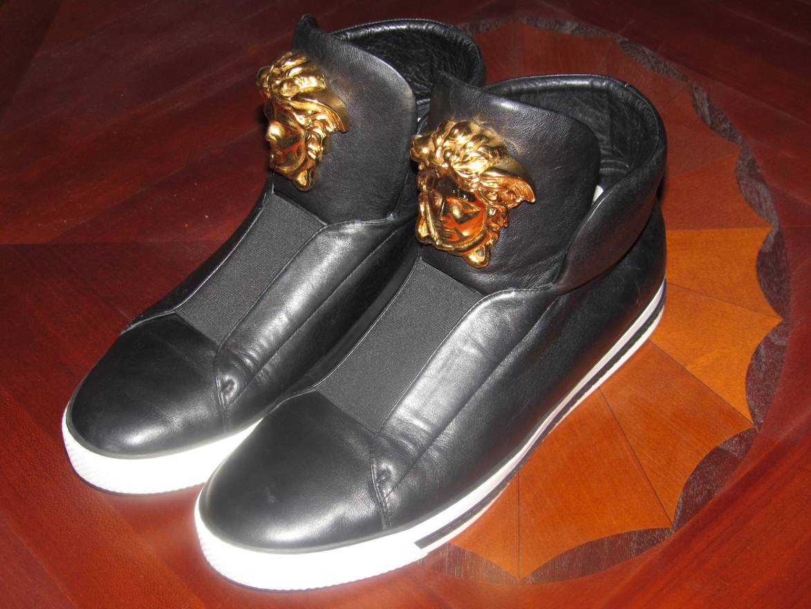 VERSACE First Idol Leather High-Top Sneakers