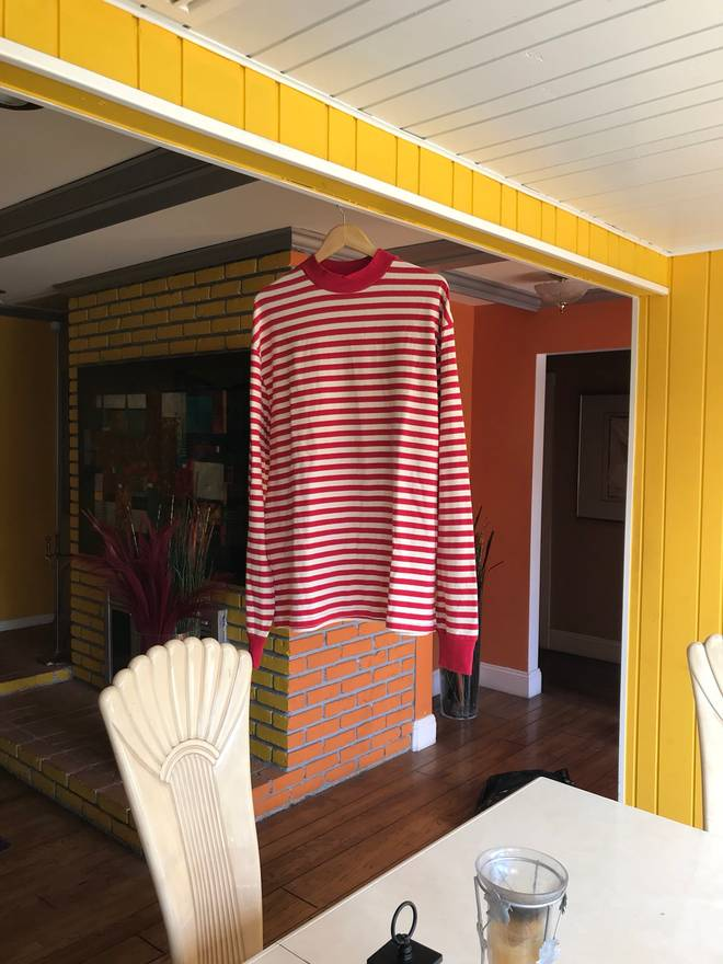 Fear Of Dswt Fog Red Cream Striped Oversized L S Size Us
