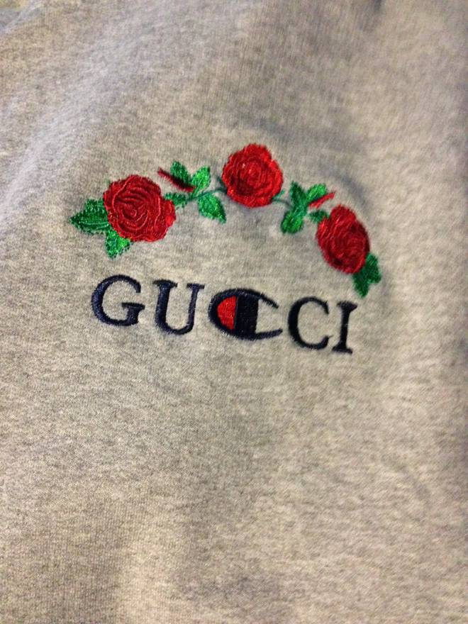 gucci x champion. gucci custom x champion roses hoodie size us m / eu 48-50
