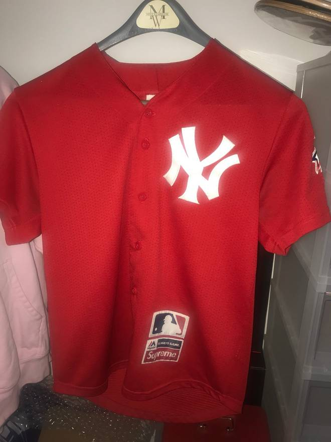 sports shoes 92d74 3dbe7 real red new york yankees jersey 4ed49 3868c