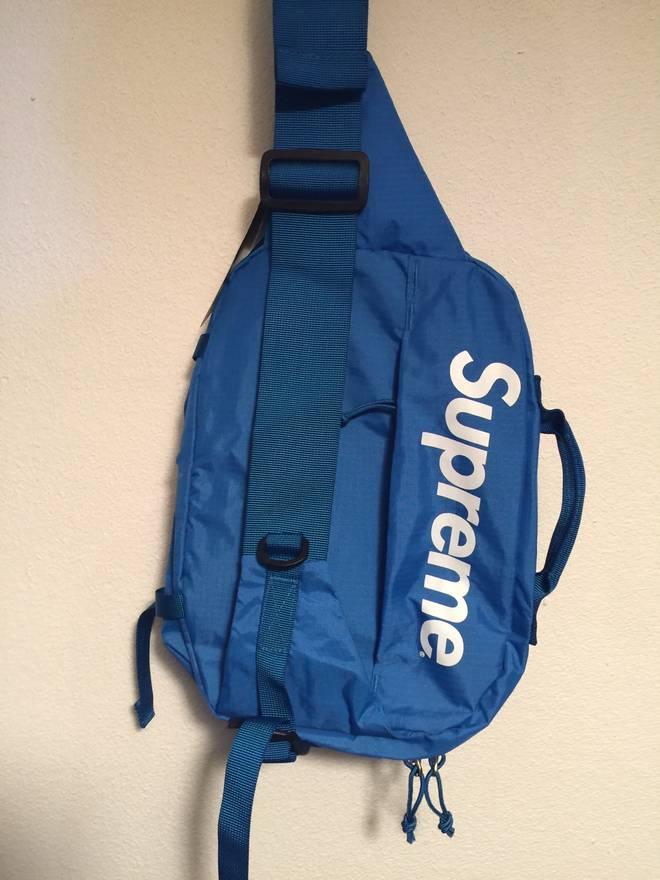 8d19c2d1bd Supreme Supreme SS16 Blue Box Logo Shoulder Bag Waist Bag Hip Bag Side .