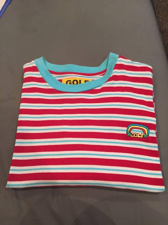 6681bd820f38 Golf Rainbow Stripe Tee Size L Short Sleeve T Shirts