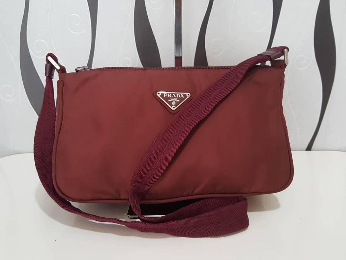 ... aliexpress prada rare authentic prada nylon maroon shoulder bag prada  vintage prada bag size one ba576 b577faee21ed7