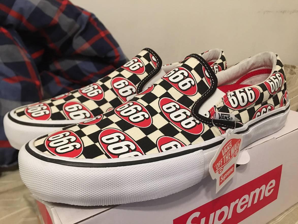 Supreme 666 Checkered Slip On Vans Size US 11 EU 44