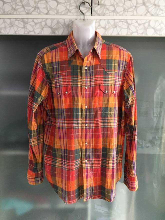 bf8d99ef42ef ... rl madras pearl snap western shirt size us l eu 52 discount code for  button down shirts red ralph lauren limited edition western shirt mens rl  95red ...