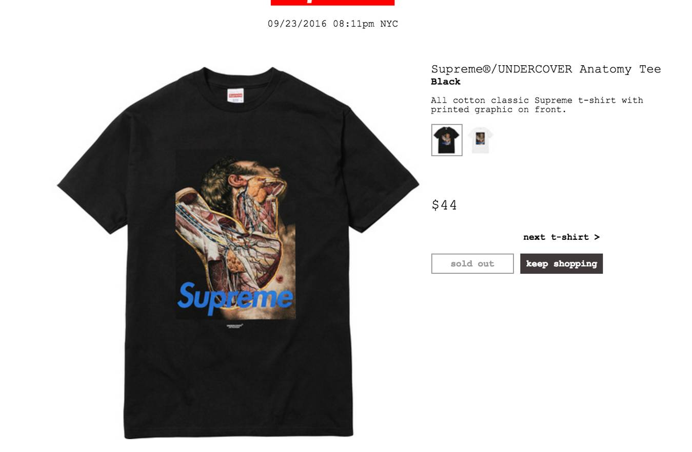 Supreme Supreme/UNDERCOVER Anatomy Tee Size m - Short Sleeve T ...