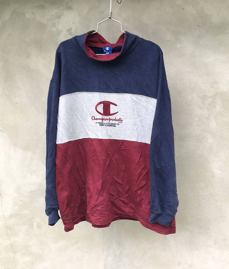 Champion Vintage Products Sweater Sweatshirt Pull Over Jacket Striped Big Embroided Logo Made In Japan