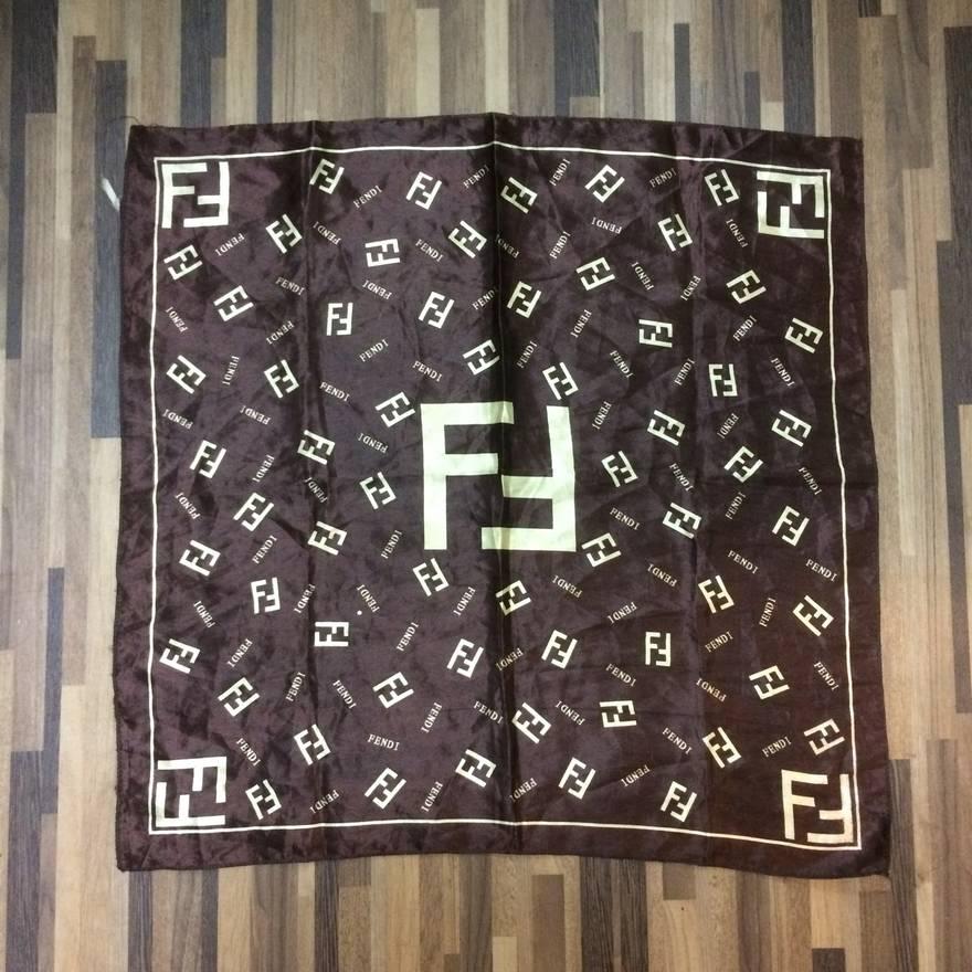 aff9419b20ea ... zucca cashmere silk blend glitter print scarf in brown f8f89 1cfbc   australia vintage fendi iconic logo monogram silk scarf size one size 793fd  c065b