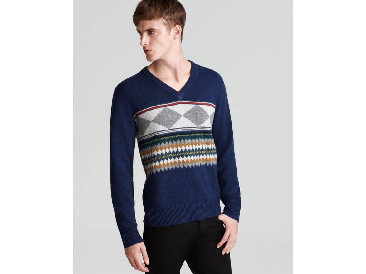 Burberry Templeton Fair Isle V-Neck Sweater Size m - Sweaters ...