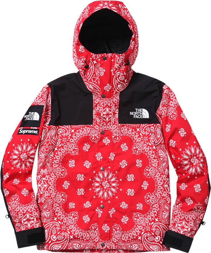 01e6ec11 ... Us L Eu 52 54. Supreme X Northface Red Bandana Windbreaker Size L