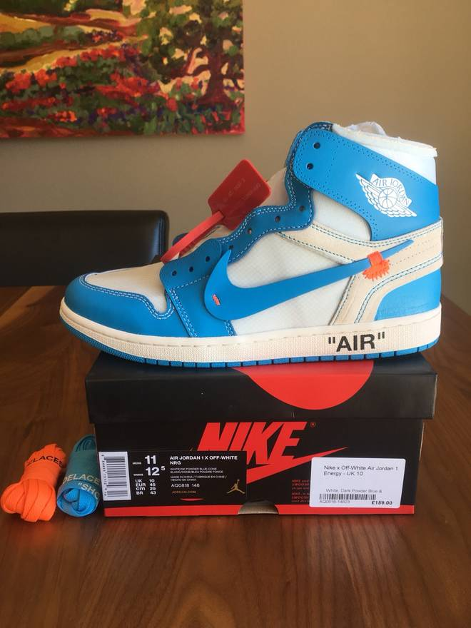best service 8560d e88fd ... reduced nike nike off white unc jordan 1 university blue last drop size  us 11 88889