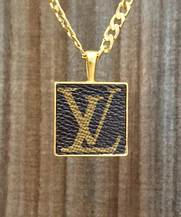 Louis vuitton 24 custom lv logo canvas pendant on 14k gold plated louis vuitton 24 custom lv logo canvas pendant on 14k gold plated cuban link mozeypictures Choice Image