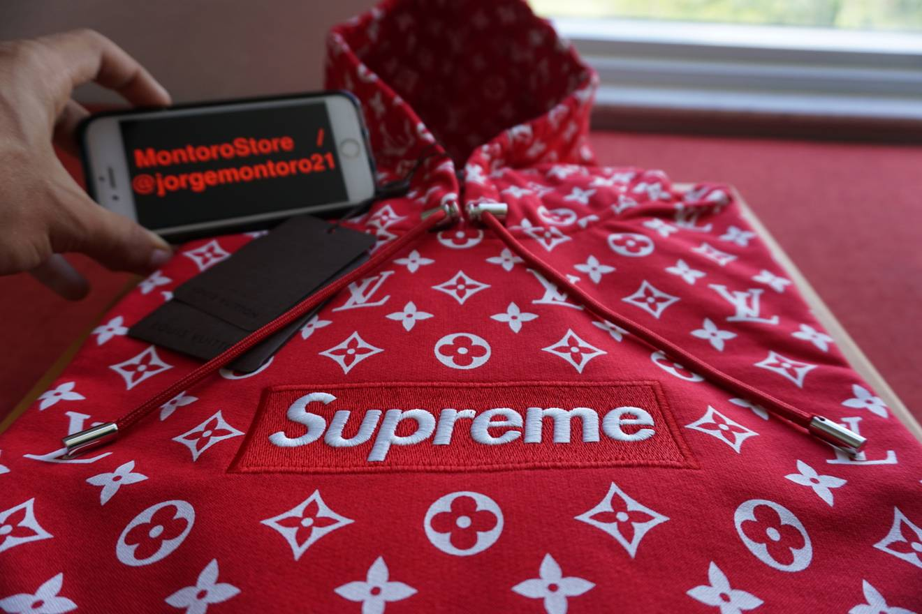 louis vuitton supreme logo. supreme (in hand) x louis vuitton - box logo hoodie xl size