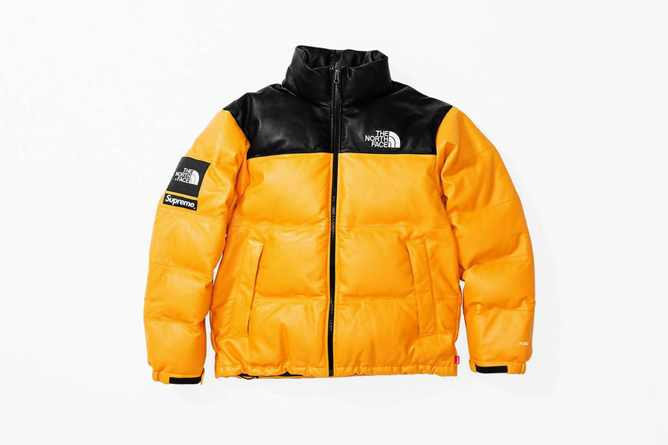 ... promo code for supreme supreme x the north face tnf leather nuptse  leather jacket yellow size 5d8c75087