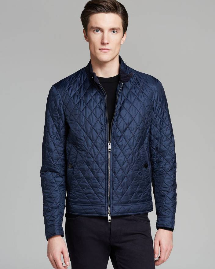 Burberry Brit Howson Quilted Bomber Jacket Navy Size M Light