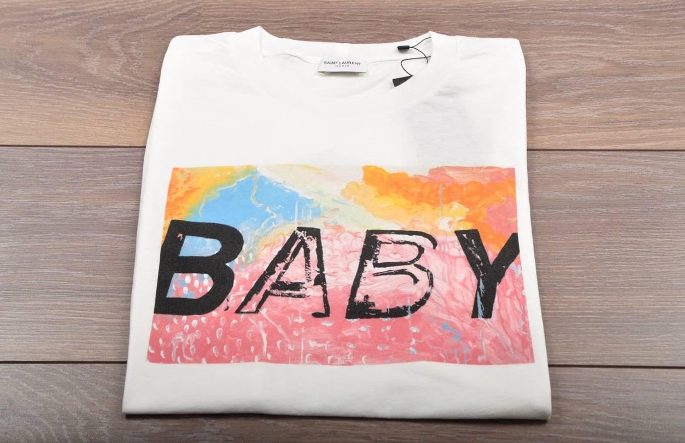 Saint Laurent Paris Final Drop Saint Laurent Baby Print T Shirt