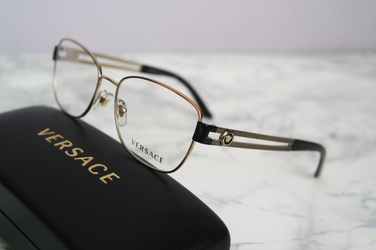 Versace NEW Versace 1234 Gold Metal Medusa Rounded Square Eyeglasses ...