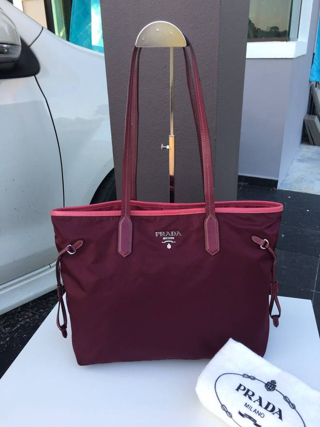 de4f93734a67 ... uk prada authentic prada tessutto neverfull style nylon limited color tote  bag size one size d6992