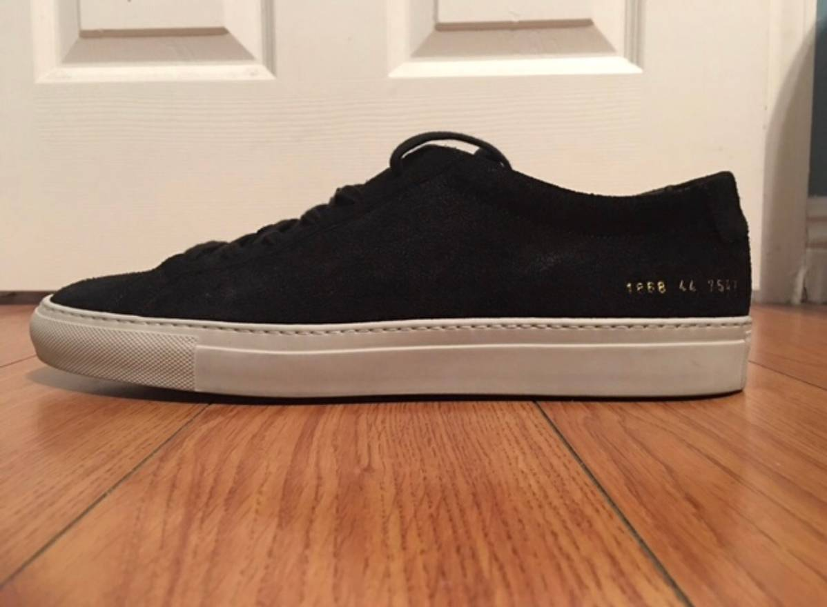 Common Projects Black & White Suede Original Achilles Low Sneakers