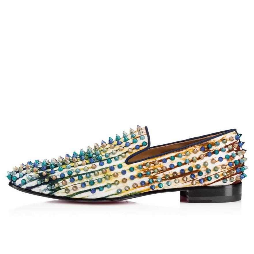 ... wholesale christian louboutin christian louboutin dandelion spikes flat  mens green blue slip on loafers 41 size