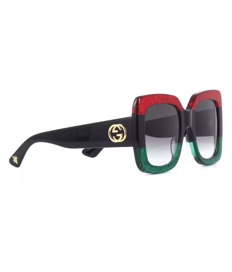 Gucci $565 Black Red And Green Square Frame Sunglasses With Bee Size ...
