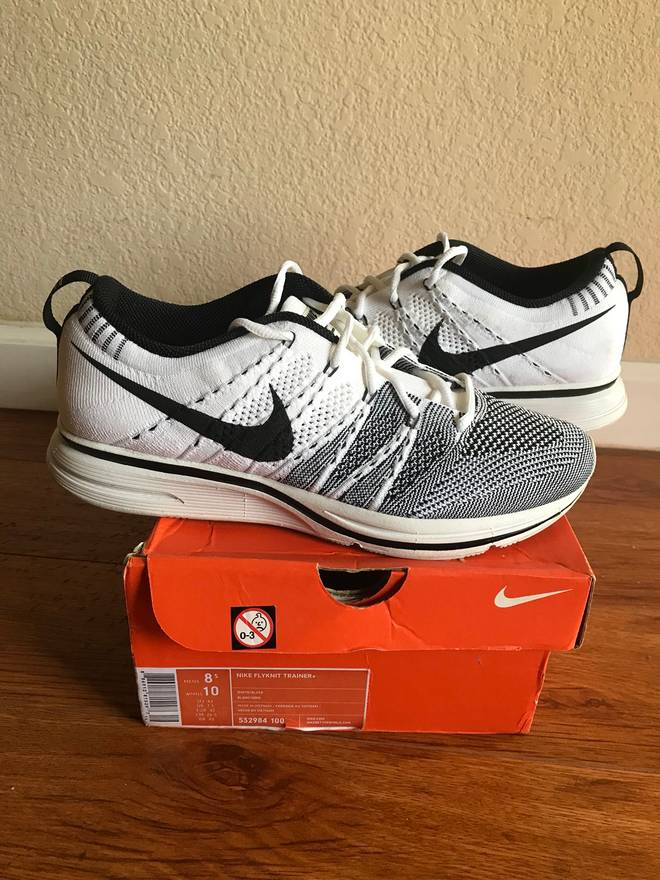new styles 3f875 f6156 ... black white 532984 010 padded size 9.5 ds kanye yeezy sale nike flyknit  trainer white 2012 padded size us 8.5 eu 41 42 8d789 c79e4 ...